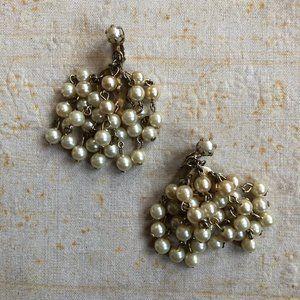 Stunning Vintage Glass Pearl Cascade Earrings